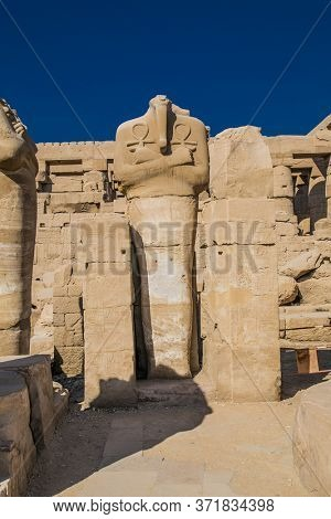Luxor Temple in Luxor, ancient Thebes, Egypt. Luxor Temple is a large Ancient Egyptian temple complex located on the east bank of the Nile River and was constructed approximately 1400 BCE.