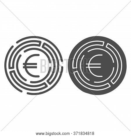 Labyrinth With Euro Coin Line And Solid Icon, Investment Decisions Concept, Labyrinth Chart Sign On