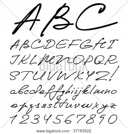 vector real hand Alphabet, uppercase and lowercase letters, digits