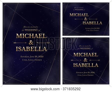 Wedding Invitation Card Set On Magic Night Dark Blue Sky With Sparkling Stars And Nebula. Golden Shi