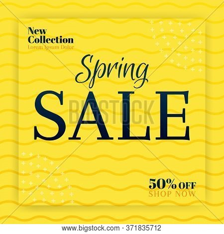Spring Sales For New Collection Fashion. Banner And Social Media Ads Promotions. Can Be Used For Onl