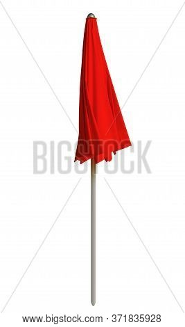 Closed Red Beach Umbrella Isolated On White. Clipping Path Included.