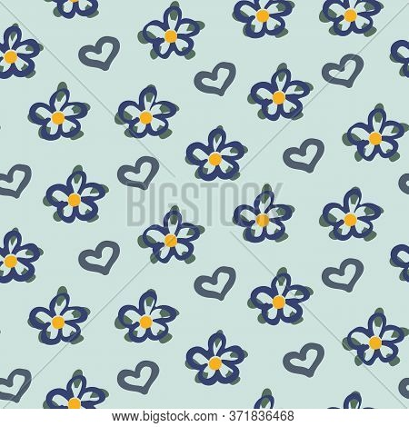 Simple Blooms And Hearts Seamless Vector Doodle Pattern. Girly Surface Print Design For Decorating F