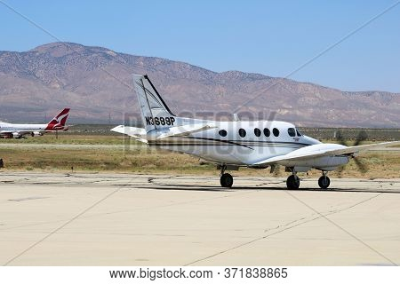 June 9, 2020 In Mojave, Ca:  General Aviation Propeller Aircraft Taxiing For Departure Taken On The
