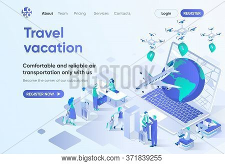 Travel Vacation Isometric Landing Page. Online Booking Service, Comfortable Air Transportation And A