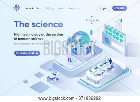 The Science Isometric Landing Page. Scientific Research And Development, High Technology In Pharma I