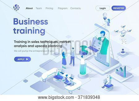 Business Training Isometric Landing Page. Coaching And Mentoring, Professional Courses, Skills Devel