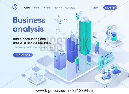 Business Analysis Isometric Landing Page. Professional Audit, Accounting And Analytics Service. Cons