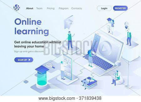 Online Learning Isometric Landing Page. Distance Education, Professional Skills Development And Care