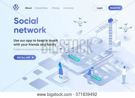Social Network Isometric Landing Page. Mobile Communication Service, Online Chatting And Media Conte