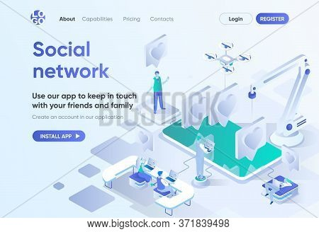 Social Network Isometric Landing Page. Online Communication With Friends And Family, Social Media Co