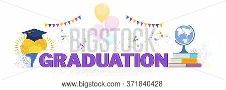 Word Graduation Concept. Graduation Caps And Scrolls Thrown In The Air. Flat Vector Cartoon Design O
