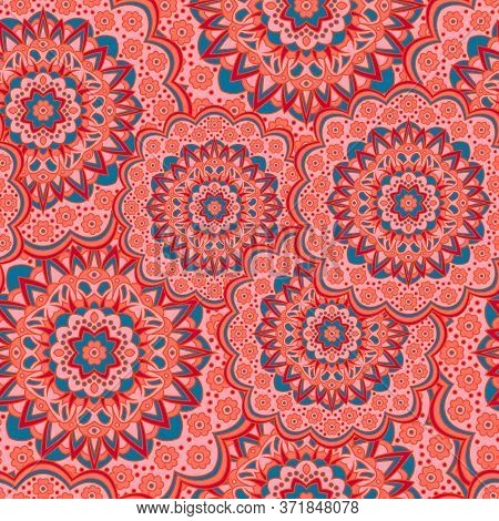 Persian Medallion Flower Seamless Ornament Vector Graphic Design. Pattern Template For Bed Cover. Or