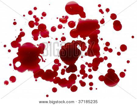 Glossy Blood (Red Paint) Droplets (Splatters) Isolated On White.