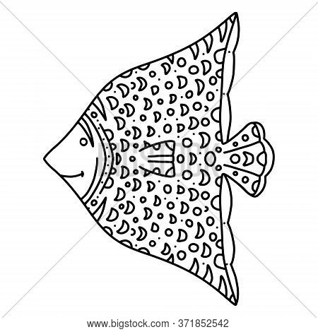 Fish Decorative Graphic Fish And Moon Line Drawing. Vector And Zentangle Coloring Book For Children