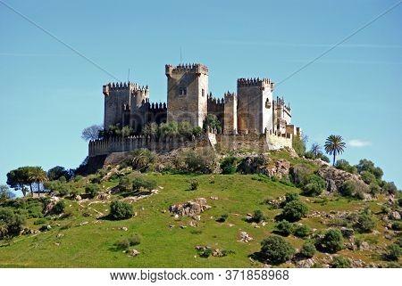 View Of The Castle On Top Of The Hill, Almodovar Del Rio, Near Cordoba, Cordoba Province, Andalucia,