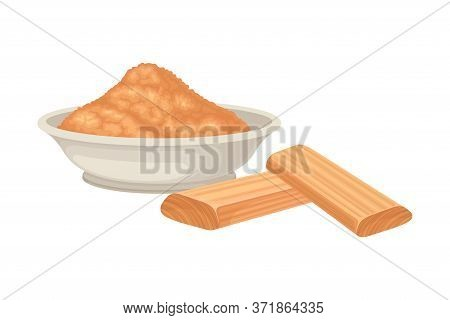 Powdered Sandalwood Poured In Bowl With Chips Rested Nearby Isolated On White Background Vector Illu