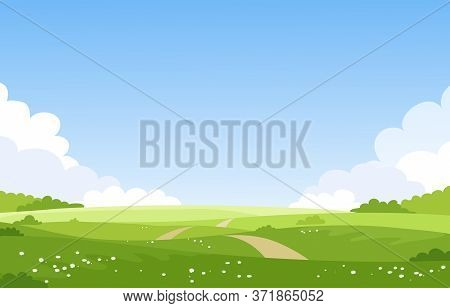 Beautiful Spring Summer Landscape, Banner With Green Fields And Meadows. Summer Natural Background W