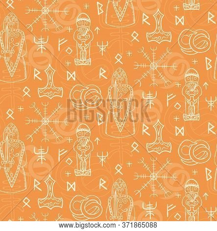 Ancient Iceland Pattern Seamless Design Illustration. Fabric And Wallpaper Series.