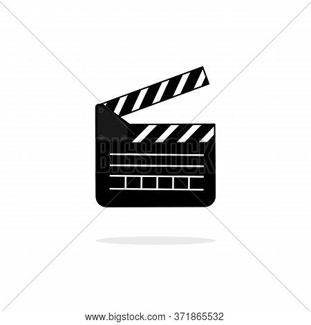 Open Movie Slate. Video Clapperboard Icon Flat. Cinematography Concept. Vector On Isolated Backgroun