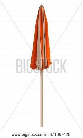 Closed Orange-white Beach Umbrella Isolated On White. Clipping Path Included.