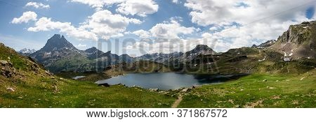 Pic Du Midi Ossau And Ayous Lake In The French Pyrenees Mountains
