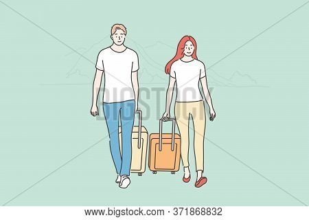 Couple, Travelling, Tourism Concept. Young Happy Man Woman Boyfriend Girlfriend Travelers Tourists W