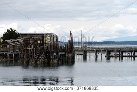 Dusks Over Old Ferry Dock In Port Townsend Near Quincy Street