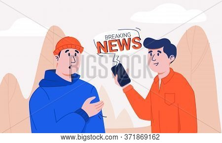 Man In Shirt Holding Smartphone With Breaking News Notification Bubble Sharing Information To Shocke