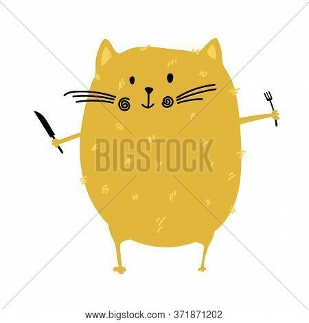 Fat Cat With Fork And Knife In His Hands For Food Blog Kitchen. Fat Cat Stays Before Eating. Vector