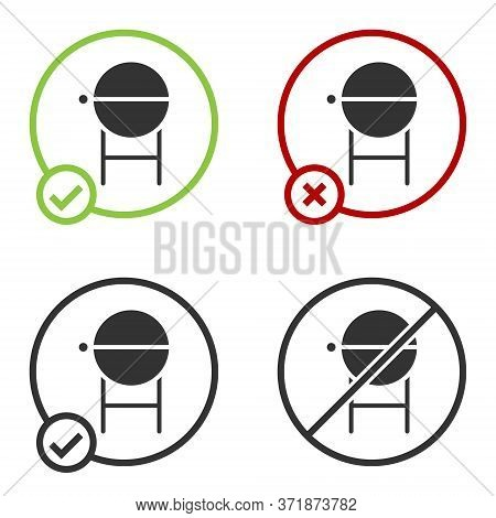 Black Barbecue Grill Icon Isolated On White Background. Bbq Grill Party. Circle Button. Vector