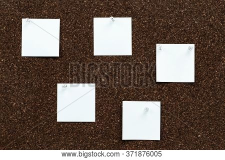 Memo Board With Empty Stickers For Studying Or Working. Note Papers For Your Message Pinned Transpar