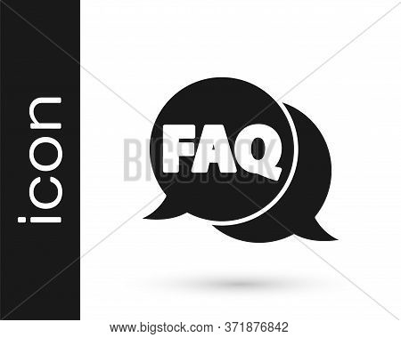 Grey Speech Bubble With Text Faq Information Icon Isolated On White Background. Circle Button With T