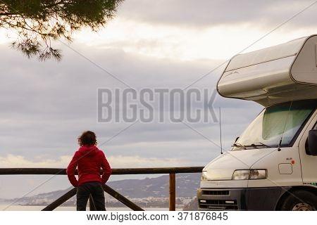 Tourist Woman At Caravan On Spanish Coast, Seaside Cliffs Of Maro Cerro Gordo. Costa Del Sol, Andalu