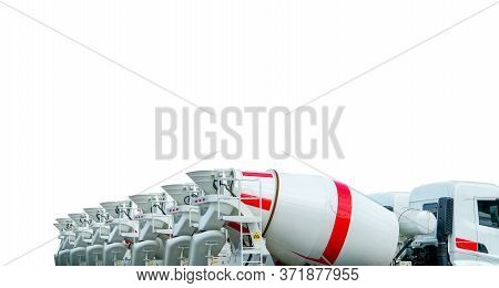 Closeup Cement Mixer Truck Isolated On White Background. Concrete Mixing Transport Truck. Cement Mix