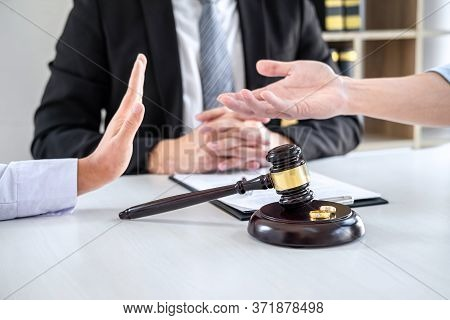 Unhappy Divorce Couple Having Conflict, Man And Wife Conversation During Divorce Process With Male L