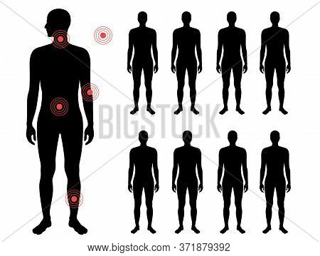 Set With Flat Vector Isolated Illustration Of Pain And Inflammation In Naked Man Body . Black Silhou