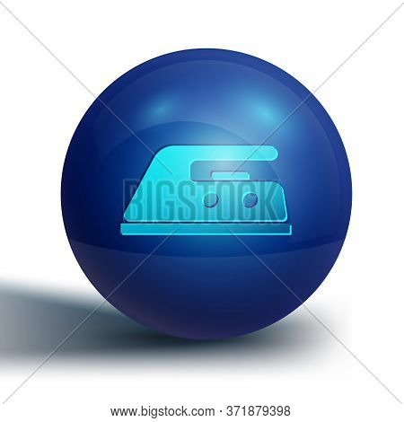Blue Electric Iron Icon Isolated On White Background. Steam Iron. Blue Circle Button. Vector