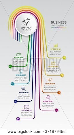 Vertical Infographic With Thin Lines And Business Icons With 8 Options. Modern Concept For Diagram,
