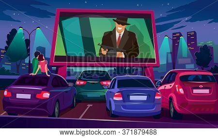 Watch Cinema On Big Screen Under Open Air Vector Illustration. Large Movie Screen Glowing In Darknes
