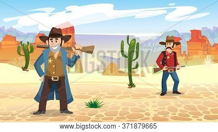 Seamless Background With Characters And Guns Vector Illustration. Sheriff Or Cowboy In Desert Flat S