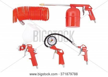 Tire Inflator, Air Hose, Spray Gun, Blow Gun, Sandblasting Gun Isolated On White Background. Pneumat