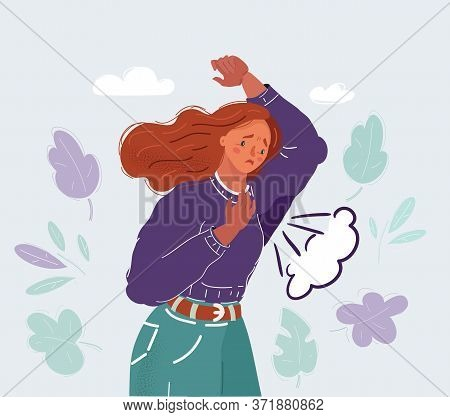 Vector Illustration Of Woman Sweating Very Badly Under Armpit.