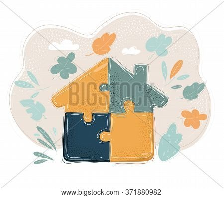 Vector Illustration Of House Built Jigsaw Blocks Part