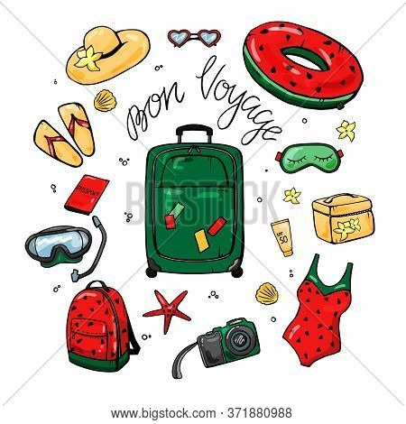 Green Suitcase With Woman Things For Travel Or Vacation. Set Of Things For Travel. Colorful Design,