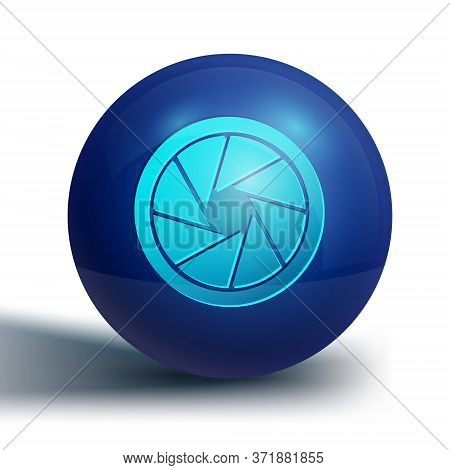 Blue Camera Shutter Icon Isolated On White Background. Blue Circle Button. Vector