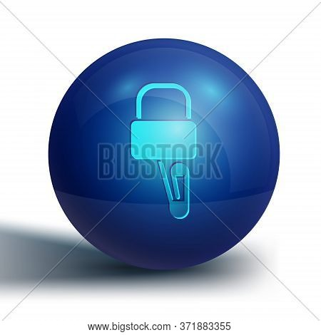 Blue Lockpicks Or Lock Picks For Lock Picking Icon Isolated On White Background. Blue Circle Button.