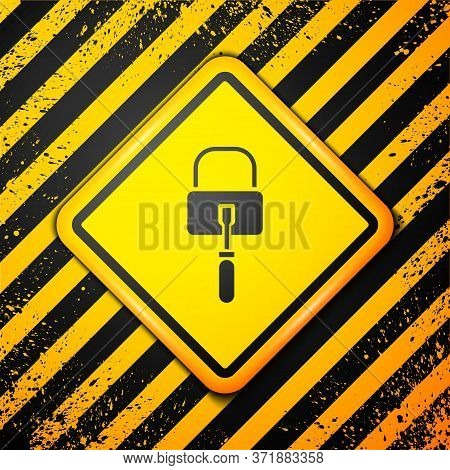 Black Lockpicks Or Lock Picks For Lock Picking Icon Isolated On Yellow Background. Warning Sign. Vec