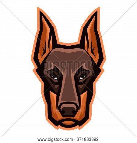 Mascot Stylized Doberman Head. Illustration Or Icon Of Domestic Animal.