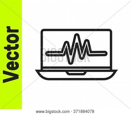 Black Line Laptop With Cardiogram Icon Isolated On White Background. Monitoring Icon. Ecg Monitor Wi